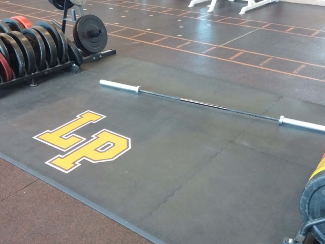 Custom continuous weightlifting platforms and logos by American Platforms.