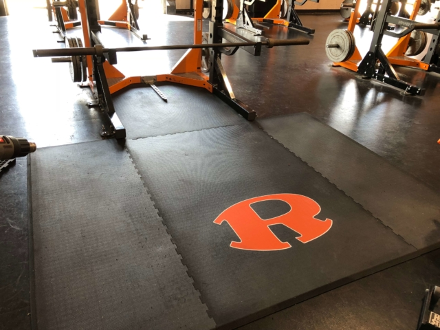 Custom weightlifting platforms and logo Rockwall High School - American Platforms